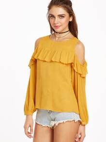 Yellow Cold Shoulder Ruffle Trim Buttoned Cuff Crinkle Top