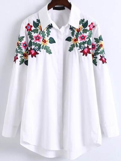 Floral Embroidery High Low Blouse