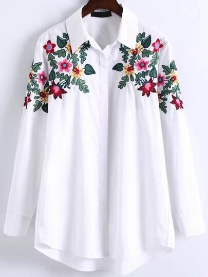 بلوزة بيضاء طباعة الزهور أطوال مختلفة كم طويل