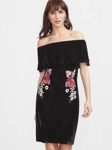 Black Off The Shoulder Flower Embroidered Velvet Dress
