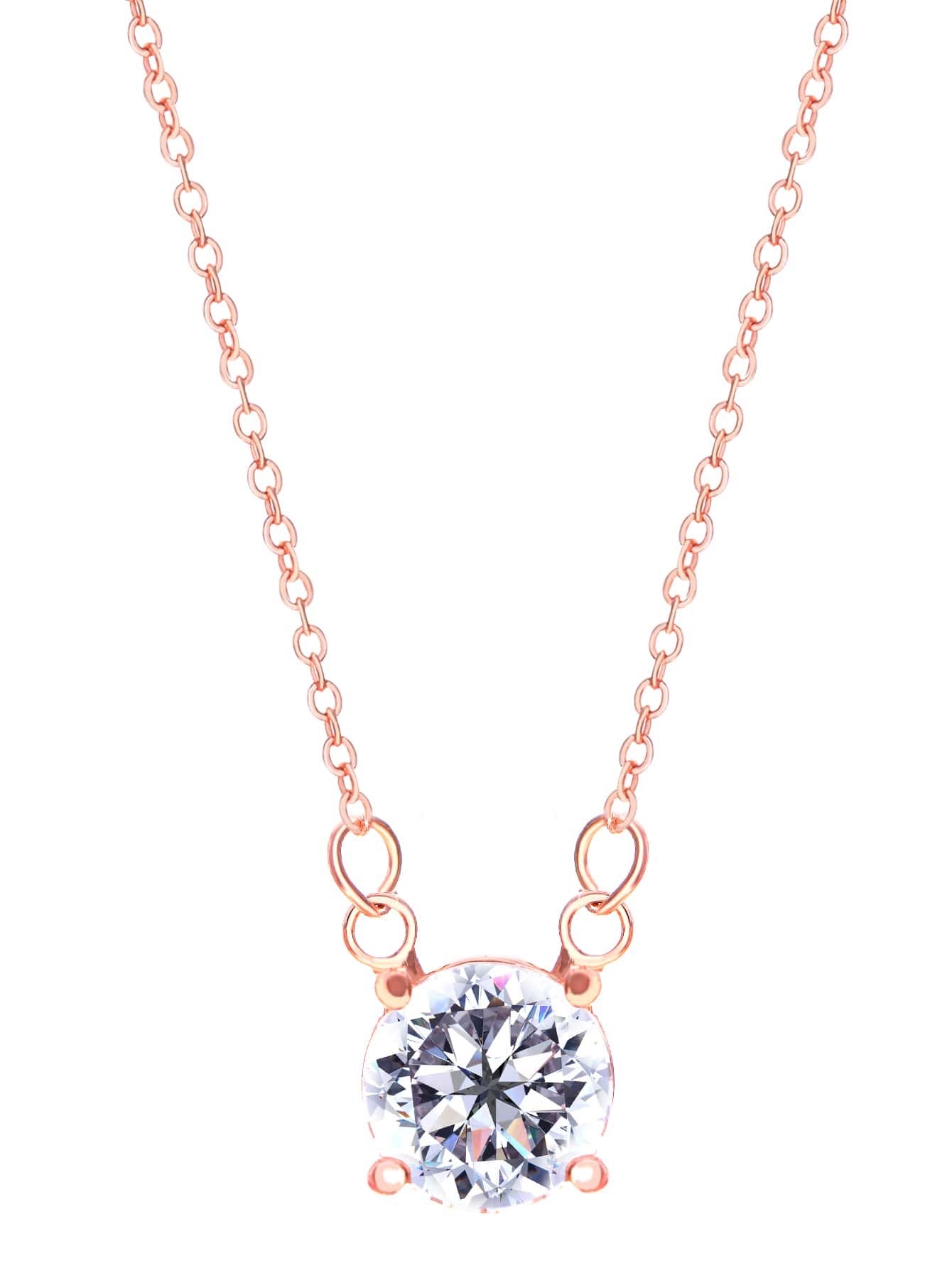 Rose Gold Plated Crystal Pendant NecklaceRose Gold Plated Crystal Pendant Necklace<br><br>color: Gold<br>size: None