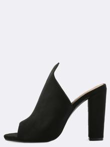 Pointed Top Mule Heels BLACK