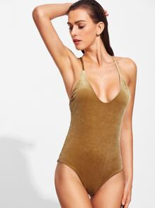 Gold V Neck Cross Back Velvet One-Piece Swimwear
