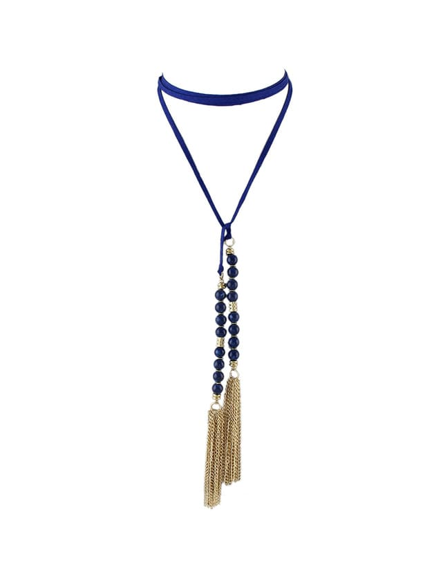 Blue Color Beads Tassel Long Suede Chain NecklacesBlue Color Beads Tassel Long Suede Chain Necklaces<br><br>color: Blue<br>size: None