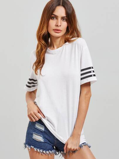 Drop Shoulder Striped Sleeve T-shirt