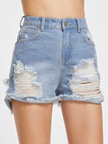 Shorts en jean ourlet bruts déchiré -bleu