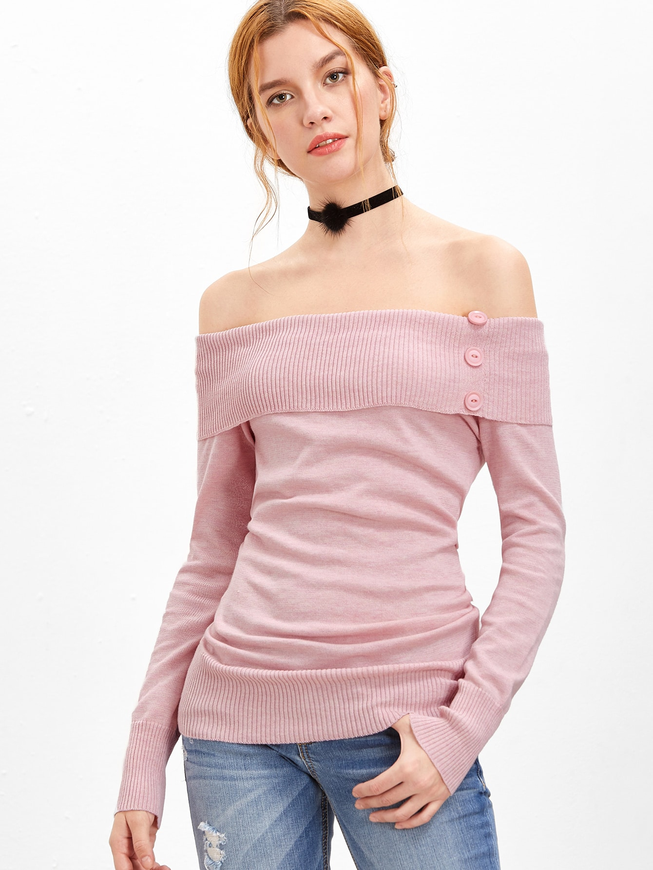 Pink Foldover Off The Shoulder Sweater sweater160923457