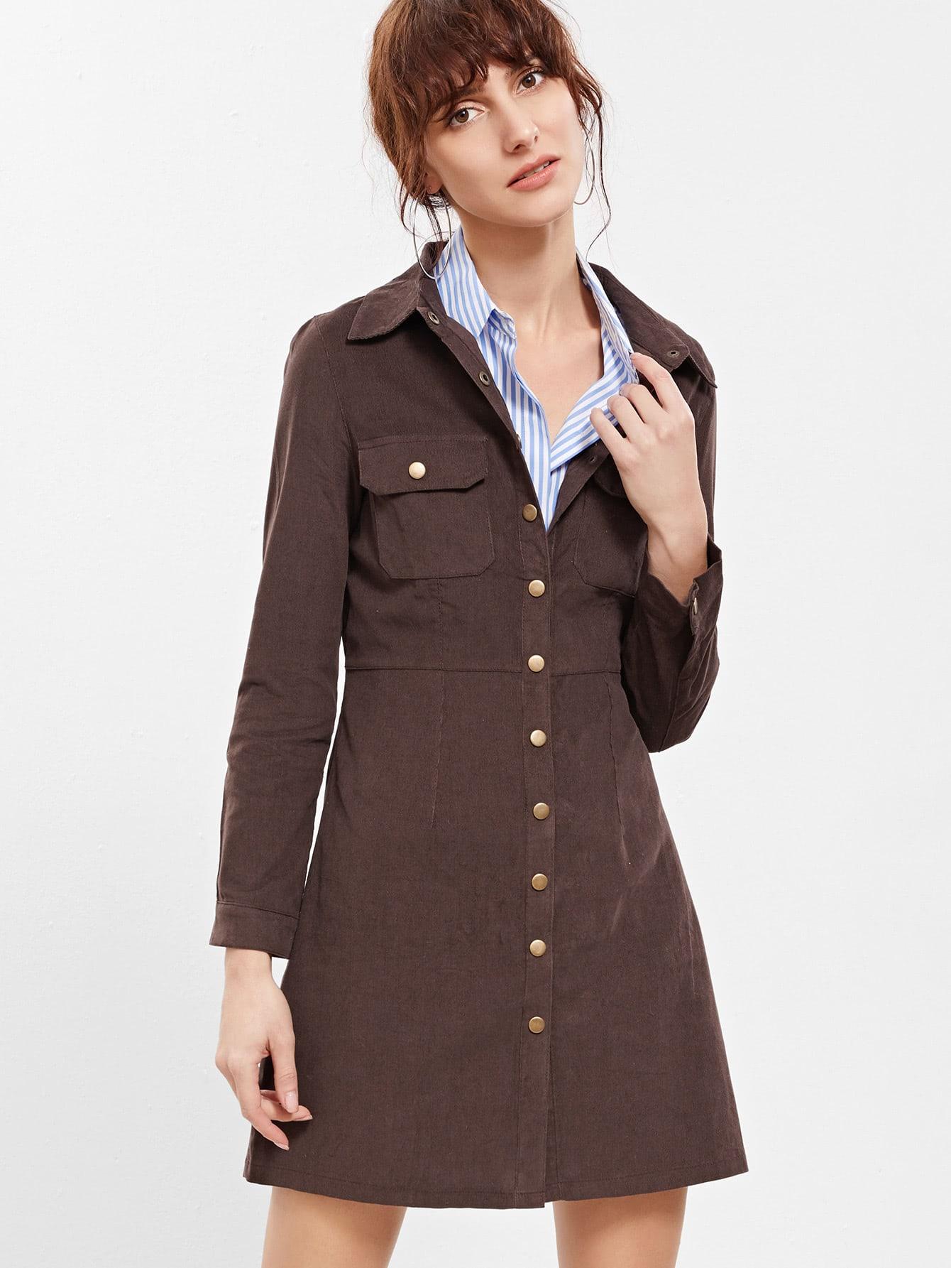 Фото Brown Button Front Coat With Pockets. Купить с доставкой