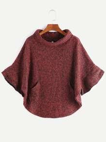 Burgundy Turtleneck Pocket Slub Poncho Coat