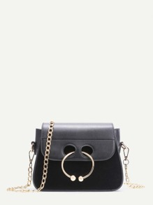 Black Nose Ring Detail PU Leather Mini Chain Bag