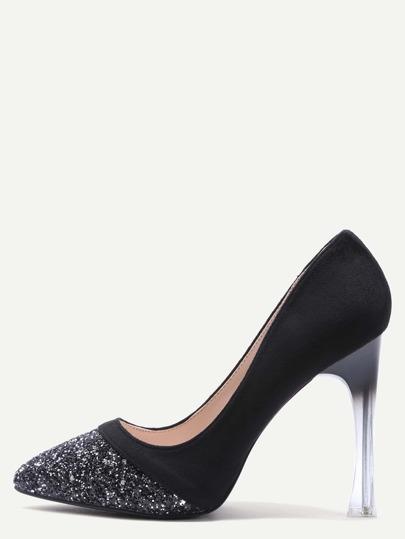 Black Embellished Toe Suede Leather Sheer Heel Pumps