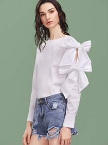 White Bow Embellished Sleeve Buttoned Cuff Top