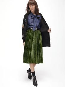 Green Pleated Velvet Skirt