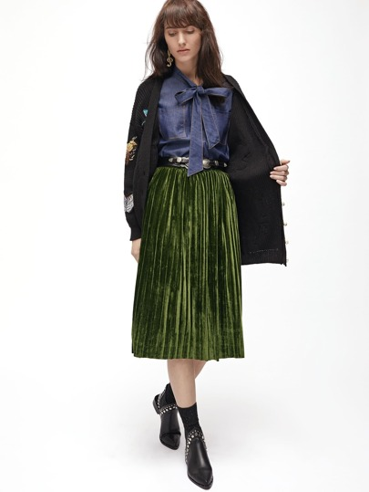 Tea Length Pleated Velvet Skirt