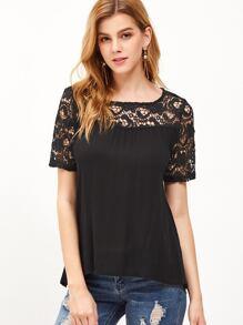 Black Contrast Crochet Lattice Back T-shirt