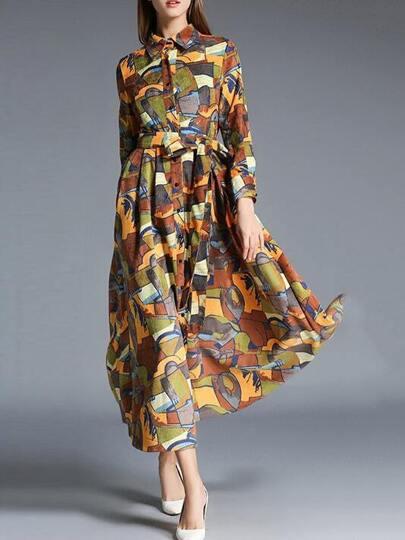 Multicolor Lapel Tie-Waist Maxi Dress