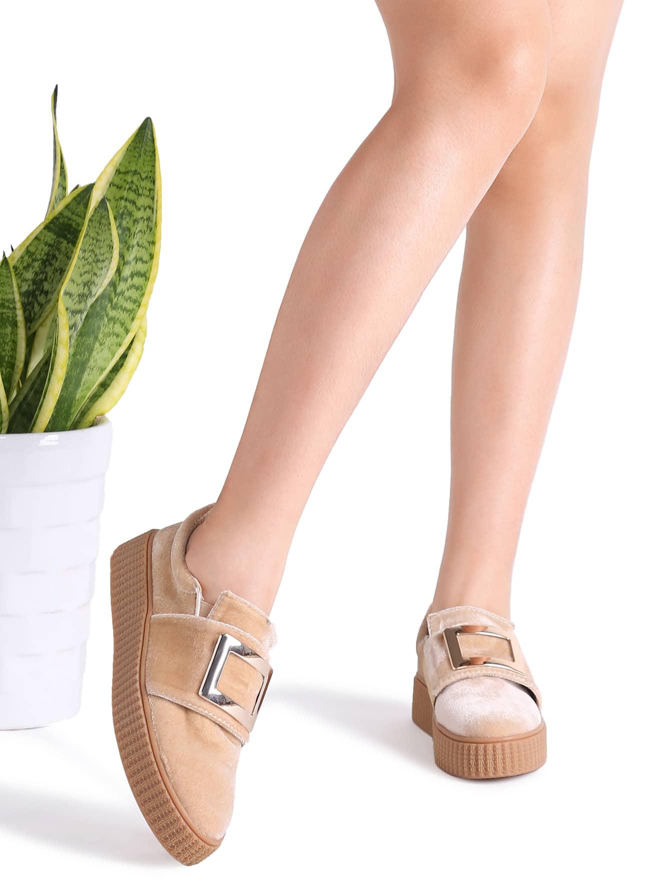 Фото Apricot Metal Embellished Rubber Sole Sneakers. Купить с доставкой