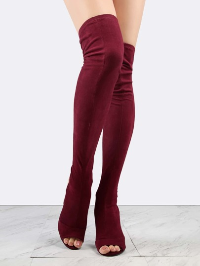 Faux Suede Chunky Heel Thigh Boots WINE