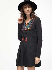Black Tassel Tie Embroidered Neck High Waist Dress
