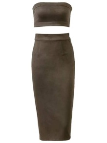 Army Green Strapless Suede Crop Top With Slit Skirt