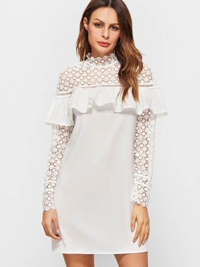 White Sheer Embroidered Lace Shoulder And Sleeve Ruffle Dress