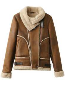 Camel Seam Suede Coat With Buckle
