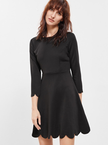 Black Round Neck Ruffle Dress