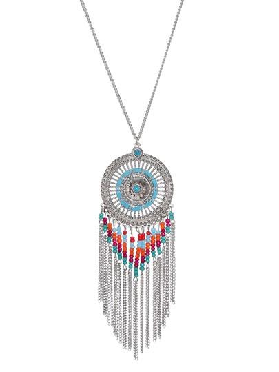 Silver Tone Boho Tassel Trim Beaded Round Pendant Necklace