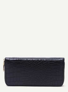 Black Croc Embossed Zip Around Long Wallet