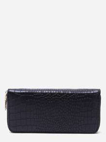 Black Croc Embossed Zip Around Long Wallet