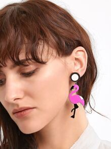 Rose Pink Flamingo Shaped Drop Earrings
