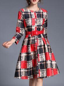 Color Block Belted A-Line Dress