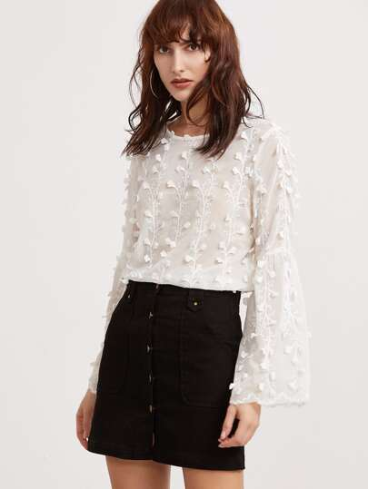Bell Sleeve Botanical Applique Embroidered Top
