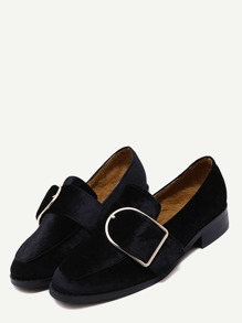 Black Buckled Strap Velvet Low Heel Pumps