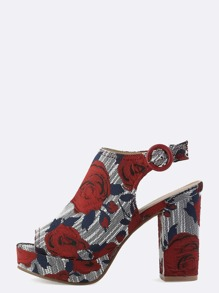 Peep Toe Floral Chunky Heels RED