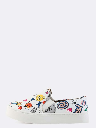 Platform Slip On Cartoon Sneakers WHITE