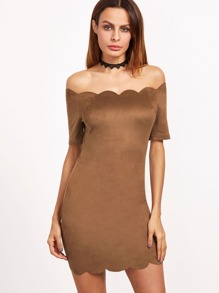 Brown Suede Scallop Trim Off The Shoulder Bodycon Dress