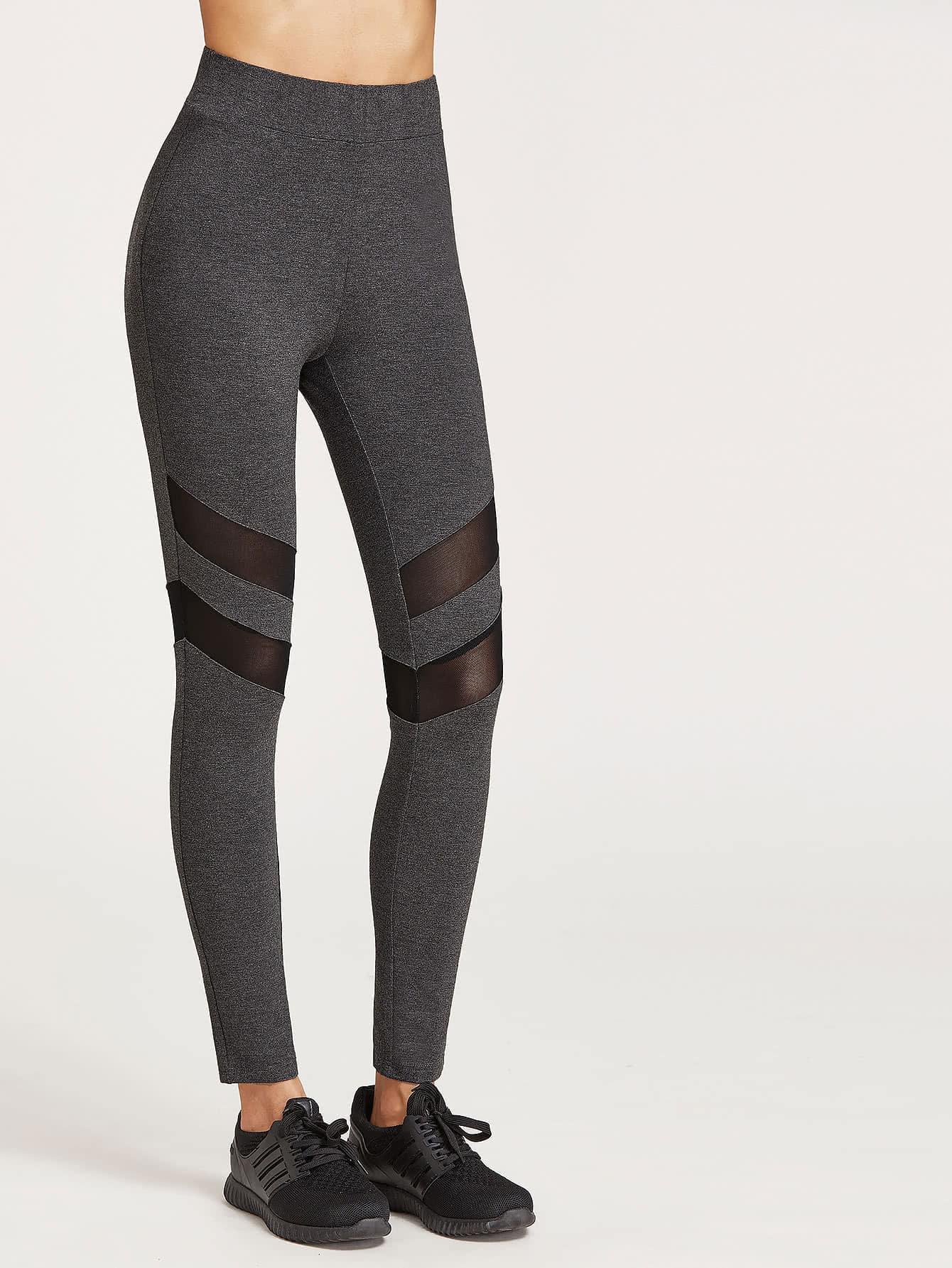 Heather Grey High Waist Leggings With Mesh Panel Detail leggings161228704