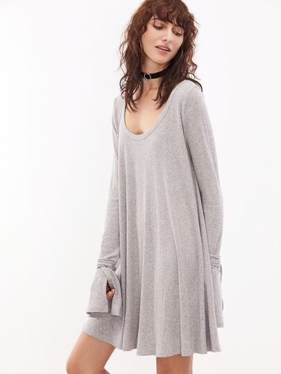 Grey Marled Scoop Neck Wrap Split Cuff Ribbed Dress