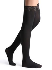 Black Floral Trim Velvet High Stretch Pantyhose Stockings