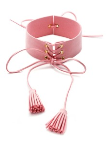 Pink Suede Leather Lace Up Tassel Choker Necklace