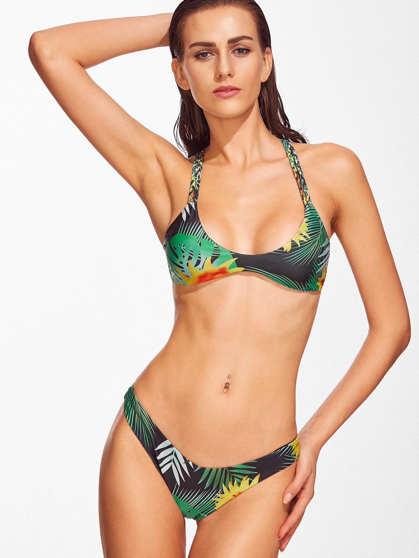 Green Tropical Printed Cross Back Bikini Set