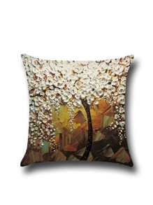 White Flower Print Pillowcase Cover