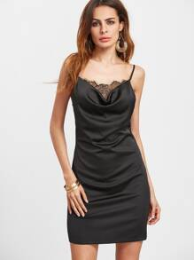 Black Lace Trim Cowl Neck Cami Dress