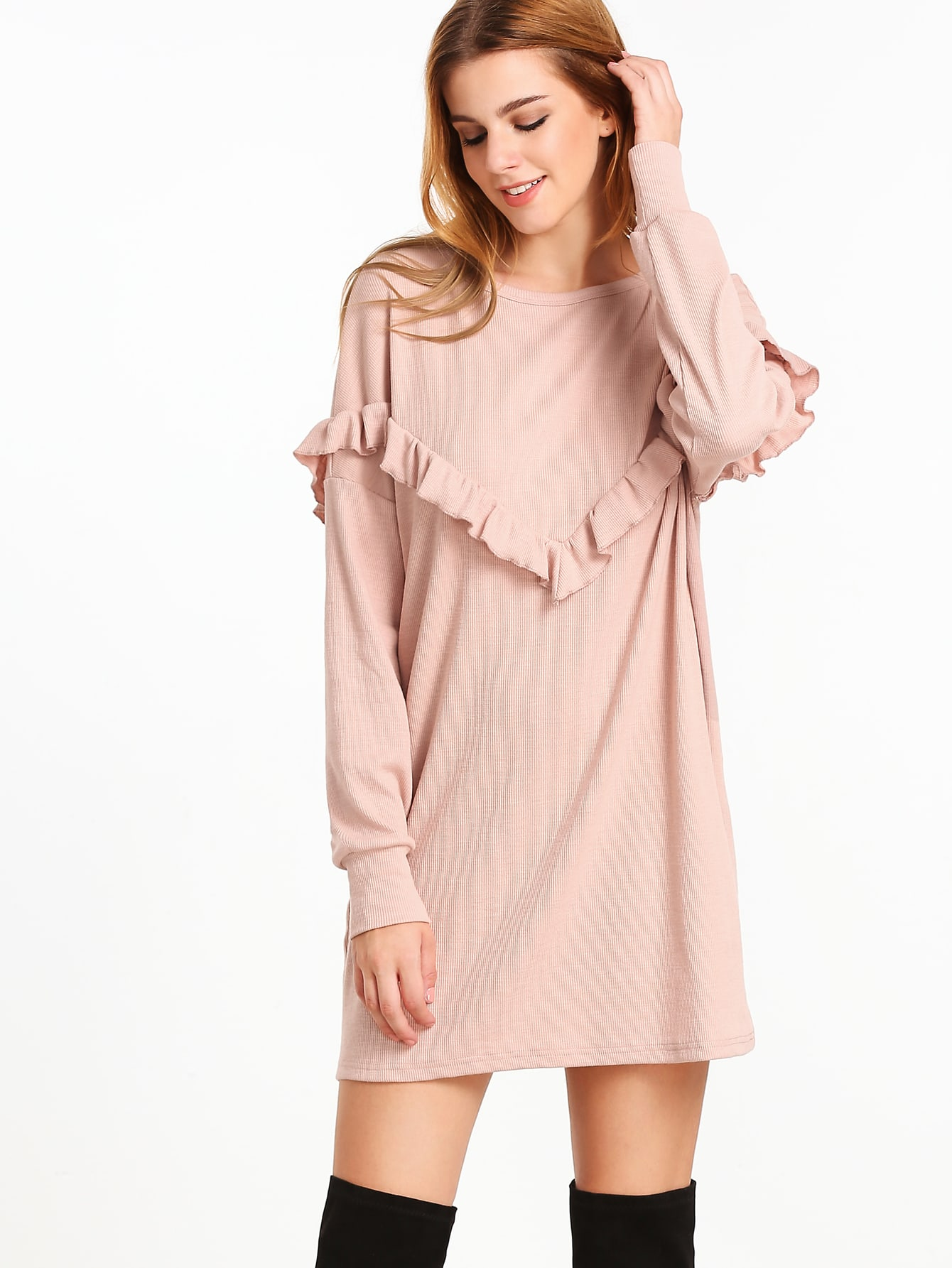 Pale Pink Ruffle Trim Drop Shoulder Ribbed Dress dress161124713