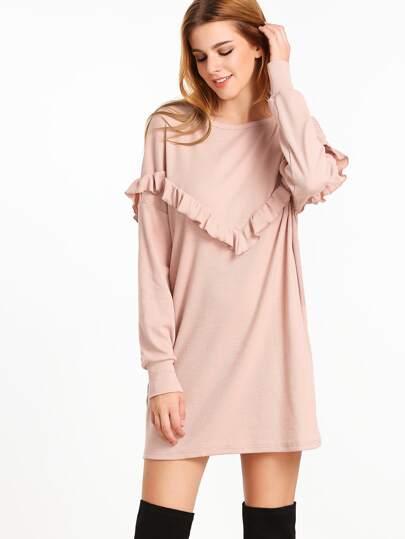 فستان حلوى ياقة مستديرة كم طويل -وردية