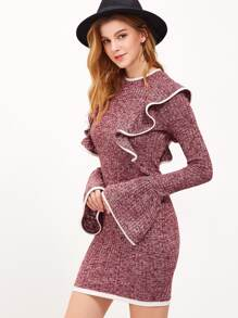 Burgundy Marled Knit Contrast Binding Ruffle Dress