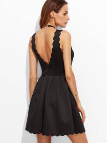 Scallop Edge V Back Box Pleated Dress