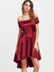 Burgundy Off The Shoulder High Low Silky Dress