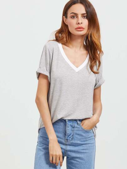 Contrast Neckline Heather Knit T-shirt